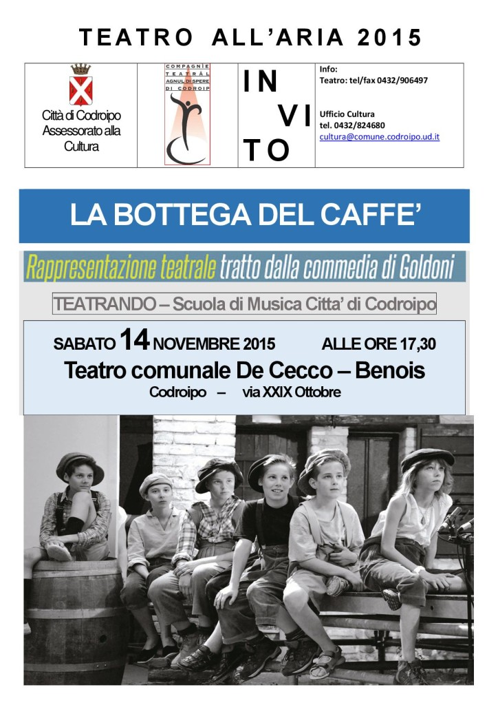 flyer LA BOTTEGA DEL CAFFE 14 NOV 2015