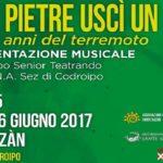 """Venerdì 16 giugno 2017 alle ore 20.45 – Corte Bazan a Goricizza """"Dalle pietre uscì un canto"""""""