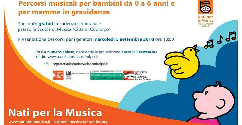 """5 settembre 2018 ore 18.00 – presentazione """"Percorsi musicali per bambini da 0 a 6 anni e per mamme in gravidanza"""""""