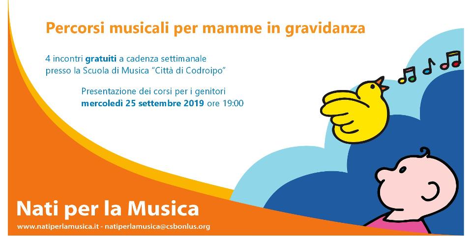 """AGGIORNAMENTO 25 settembre 2019 ore 19.00 – presentazione """"Percorsi musicali per mamme in gravidanza"""""""