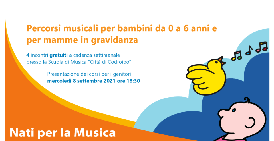 """8 settembre 2021 – presentazione """"Percorsi musicali per bambini da 0 a 5 anni e per mamme in gravidanza"""""""